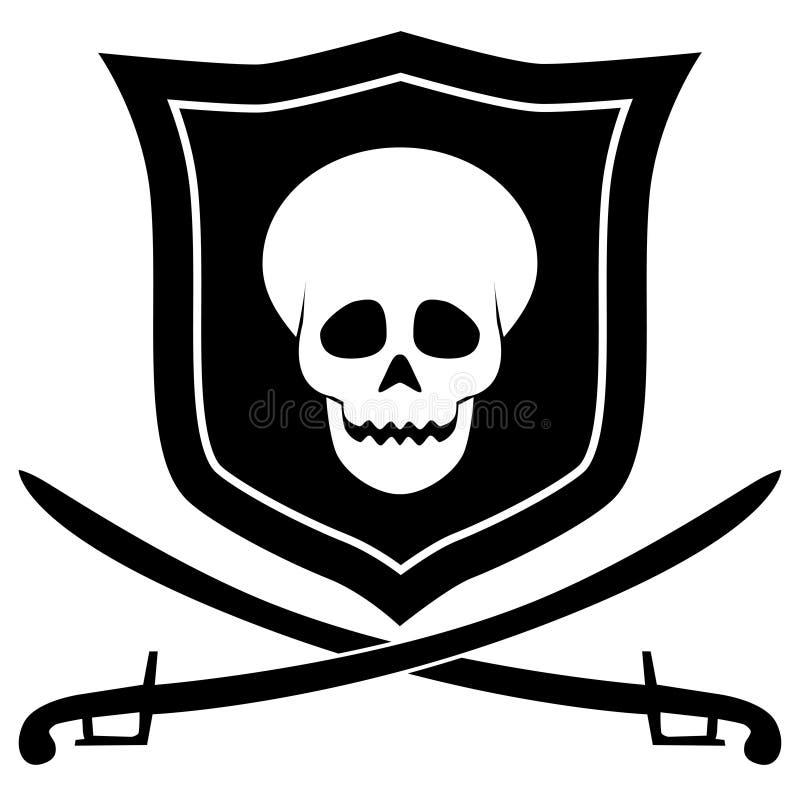 Piratkopiera emblemet royaltyfri illustrationer