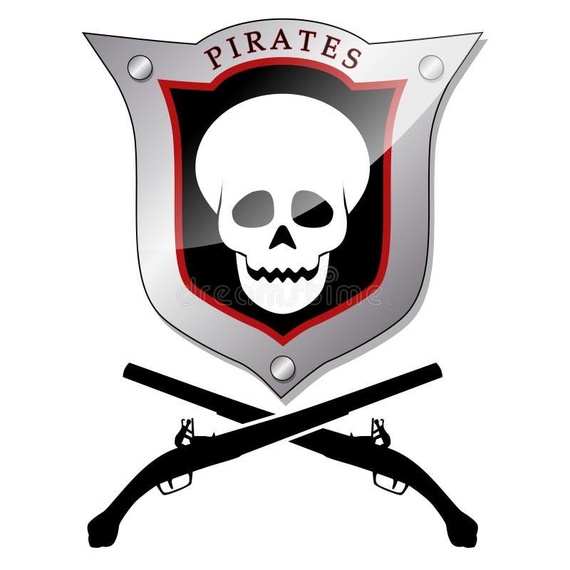 Piratkopiera emblemet vektor illustrationer