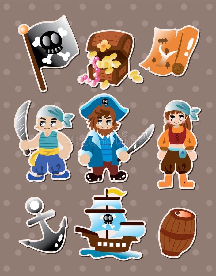 Piratkopiera etiketter stock illustrationer