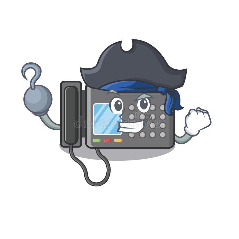 Piratkopiera faxmaskinen som isoleras i maskot vektor illustrationer