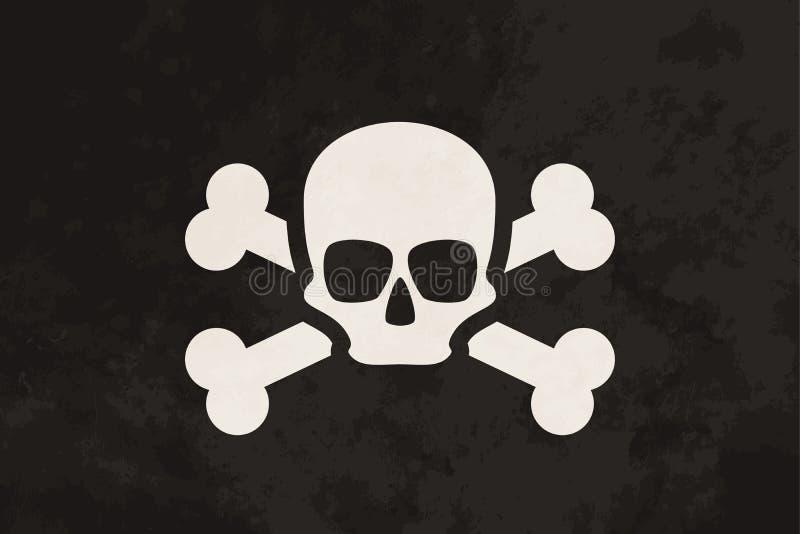 Piratkopiera flaggan med skallen och korslagda benknotor royaltyfri illustrationer