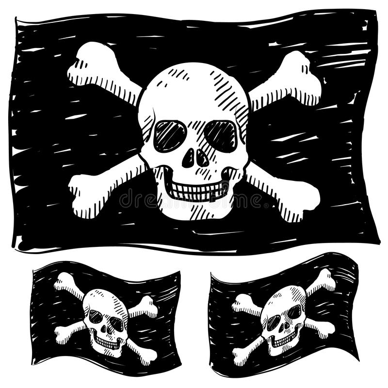 Piratkopiera flaggan skissar stock illustrationer