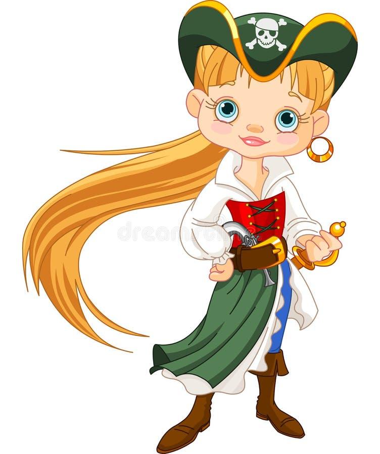 Piratkopiera flickan royaltyfri illustrationer