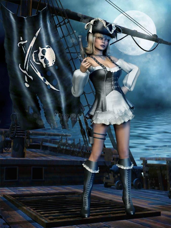Piratkopiera flickan på ett skepp stock illustrationer