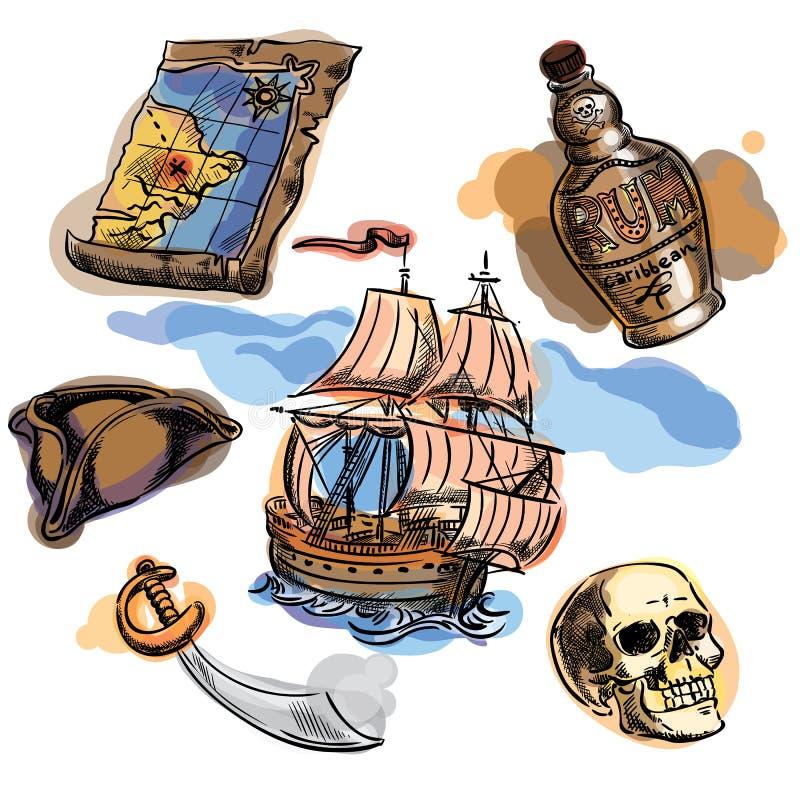 Piratkopiera Freehand uppsättningen för din design Den drog handen piratkopierar beståndsdelar royaltyfri illustrationer