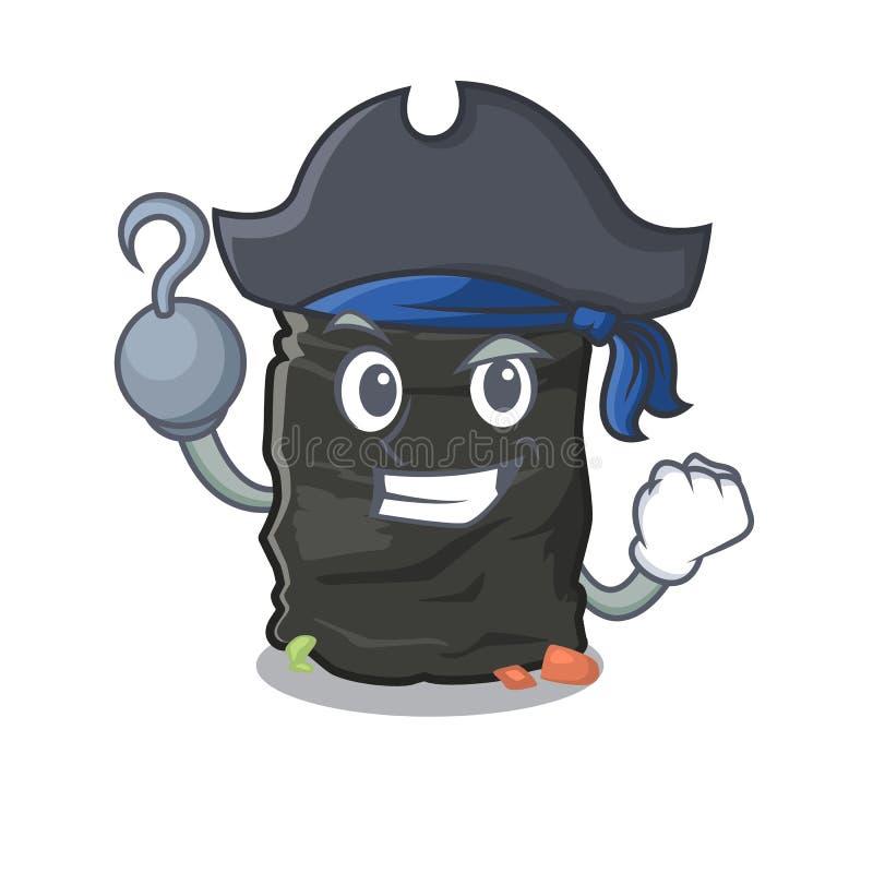 Piratkopiera grabagepåsen som isoleras med maskot royaltyfri illustrationer