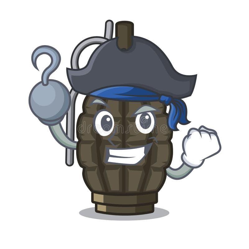 Piratkopiera granaten som isoleras med på teckenet stock illustrationer