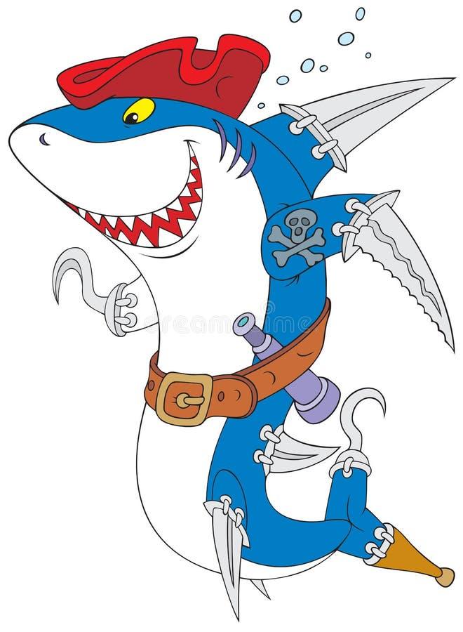 piratkopiera hajen vektor illustrationer