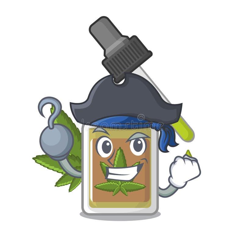 Piratkopiera hampaolja i teckenflaskan stock illustrationer