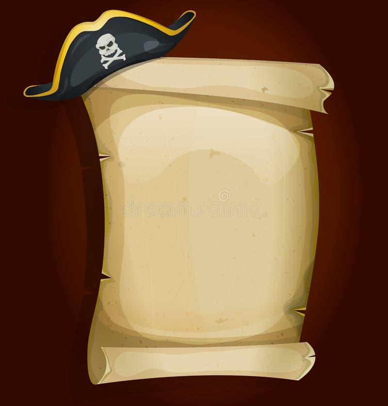 Piratkopiera hatten på gammal pergamentsnirkel royaltyfri illustrationer