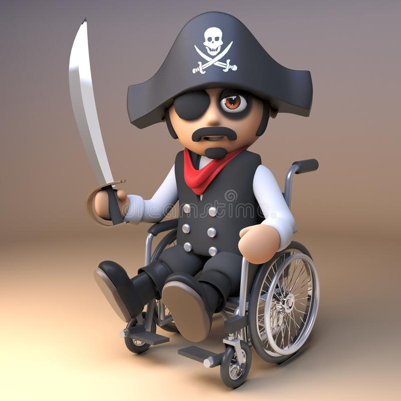 Piratkopiera havskaptenen i ögonlapp, och skallen och korslagda benknotorhatten hanterar en huggare, medan genom att använda en r vektor illustrationer