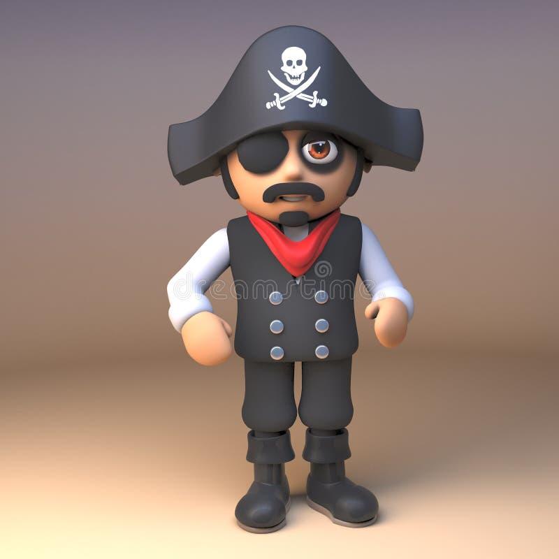 Piratkopiera havskaptenen som bär den glade roger skalle- och korslagda benknotorhatten och ögonlappen, illustrationen 3d stock illustrationer