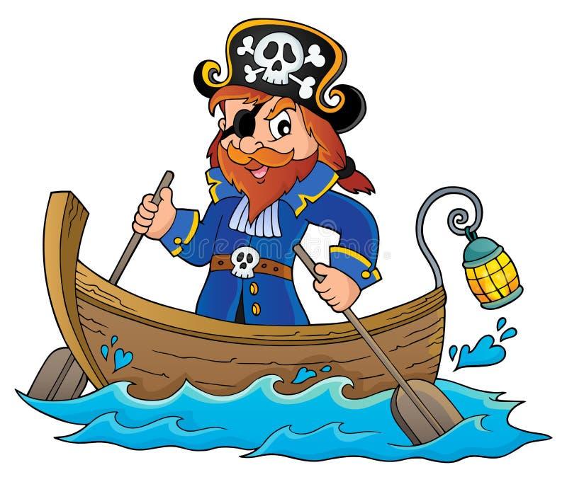 Piratkopiera i fartygämnebild 1 vektor illustrationer