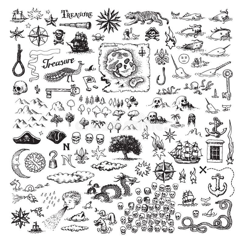 Piratkopiera illustrationer stock illustrationer