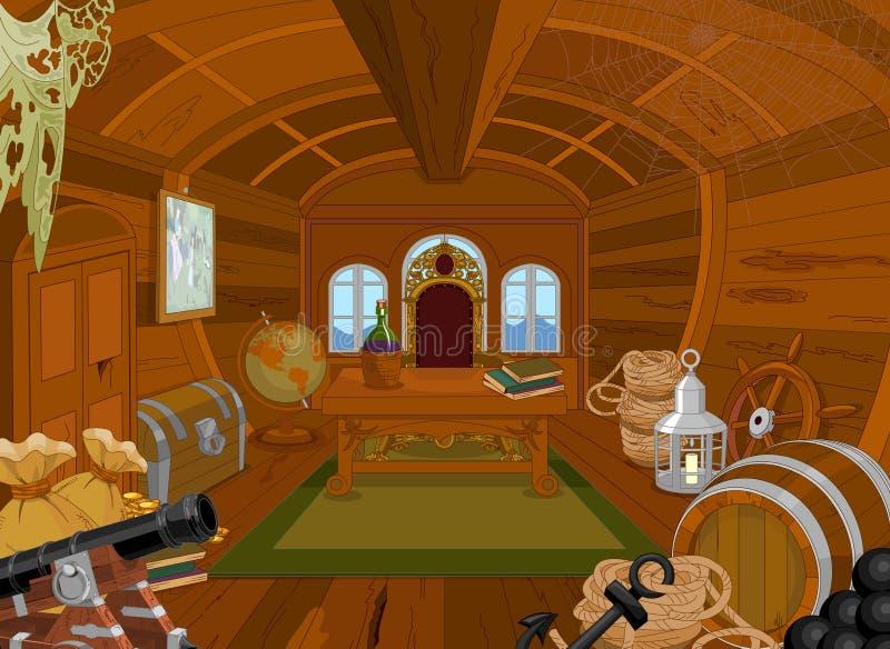 Piratkopiera kabinen royaltyfri illustrationer