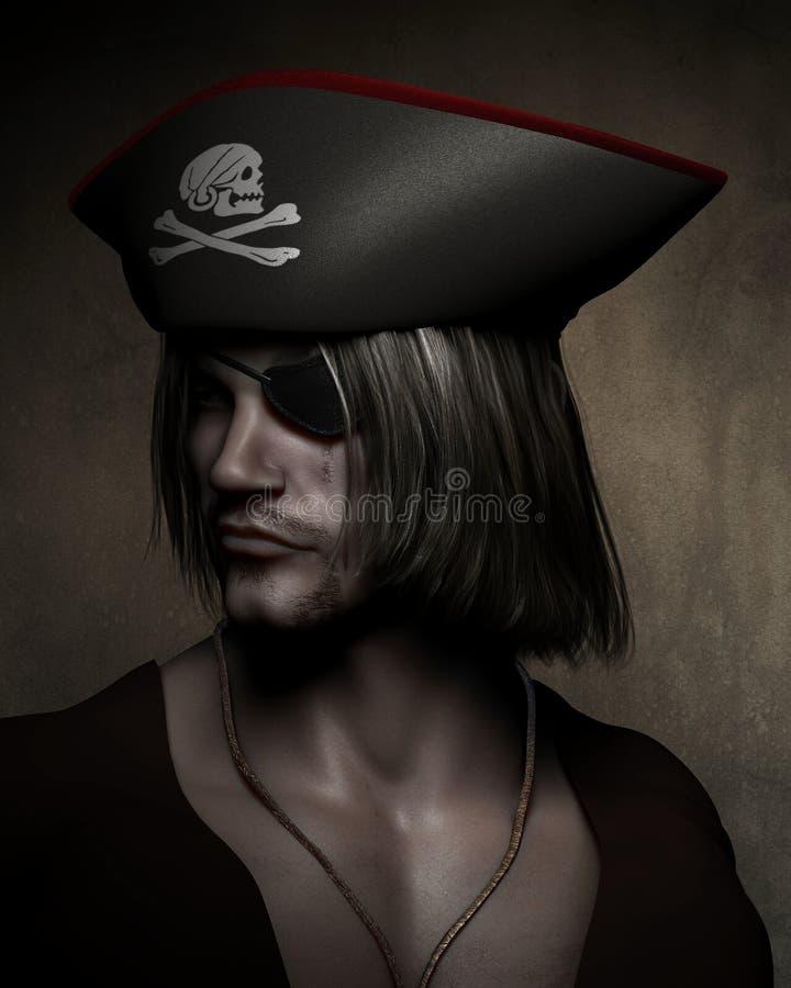 Piratkopiera kapten Portrait vektor illustrationer