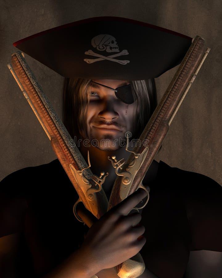 Piratkopiera kaptenen med pistoler royaltyfri illustrationer