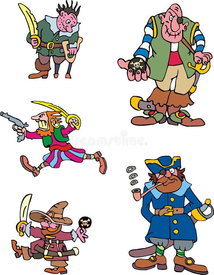 Piratkopiera kaptener stock illustrationer