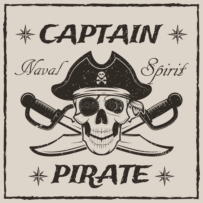 Piratkopiera kaptenskallen, och den korsade svärdvektorn skissar grungeillustrationen royaltyfri illustrationer