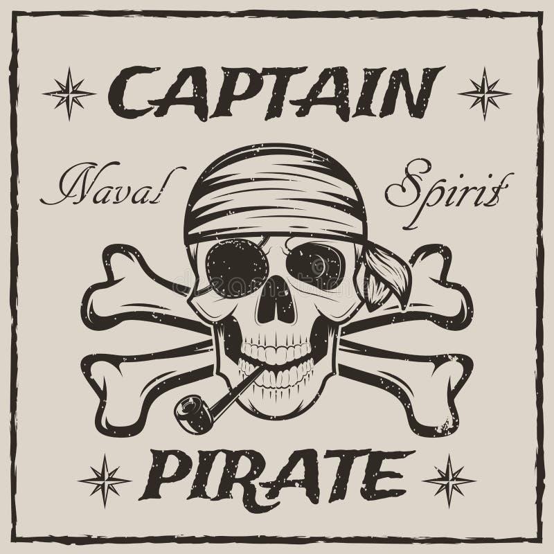 Piratkopiera kaptenskallen, och korslagda benknotorvektorn skissar grungeillustrationen royaltyfri illustrationer