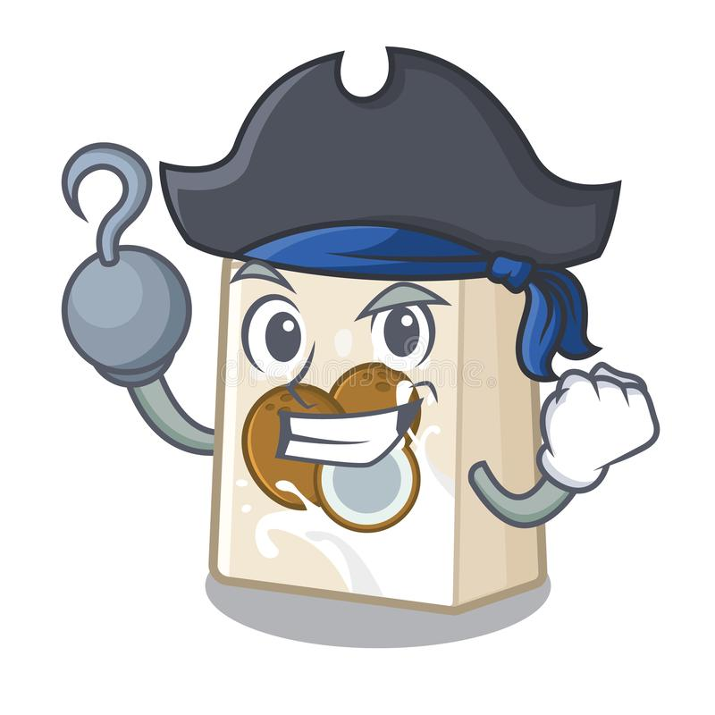 Piratkopiera kokosnöten mjölkar i en tecknad filmflaska royaltyfri illustrationer