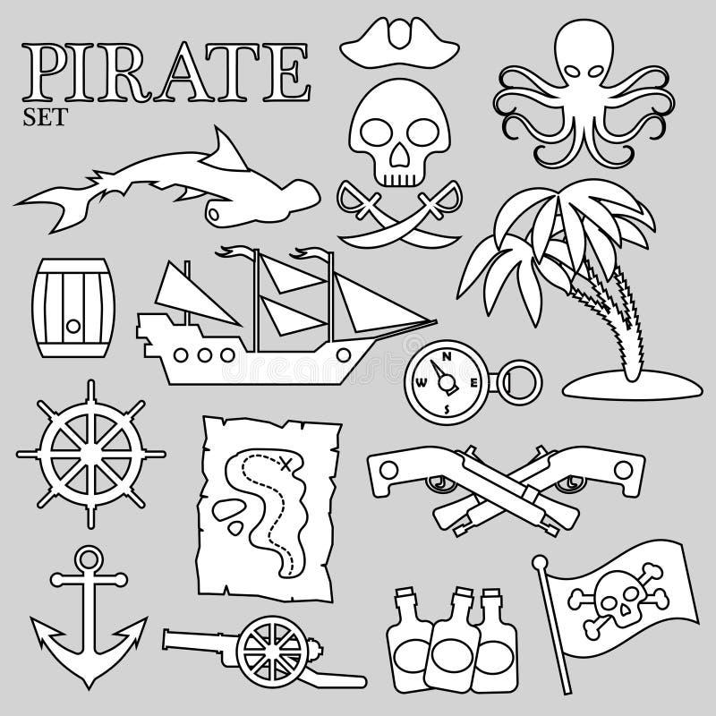 Piratkopiera konturuppsättningen För garnering, design, tryck eller annonsering royaltyfri illustrationer