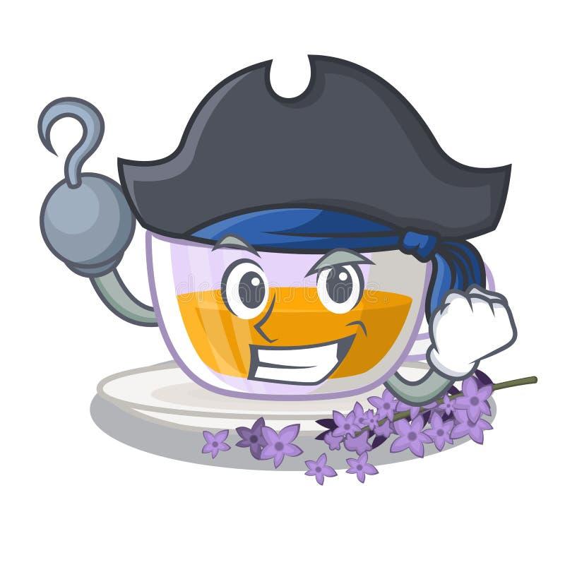Piratkopiera lavendelte i maskotformen royaltyfri illustrationer