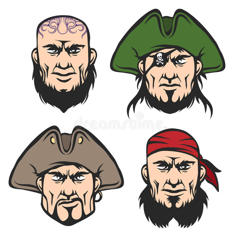 Piratkopiera maskotframsidauppsättningen royaltyfri illustrationer