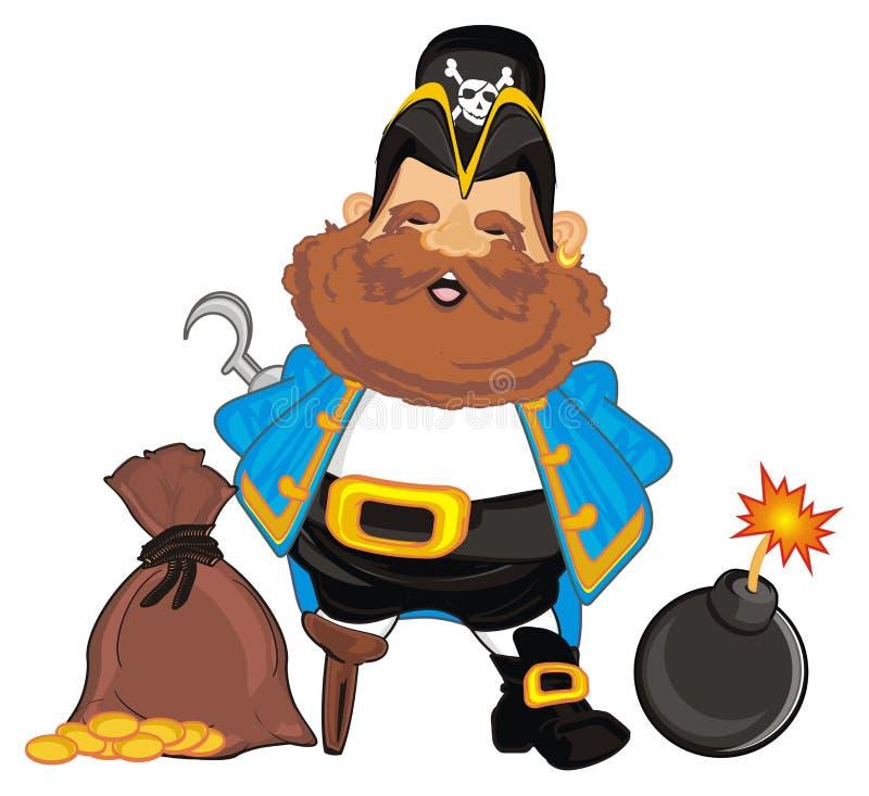 Piratkopiera med bombarderar och pengar stock illustrationer