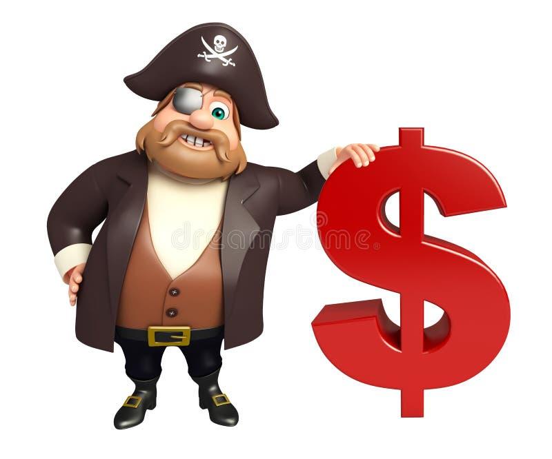 Piratkopiera med dollartecknet royaltyfri illustrationer