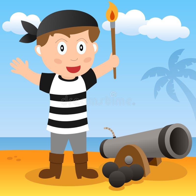 Piratkopiera med kanonen på en strand
