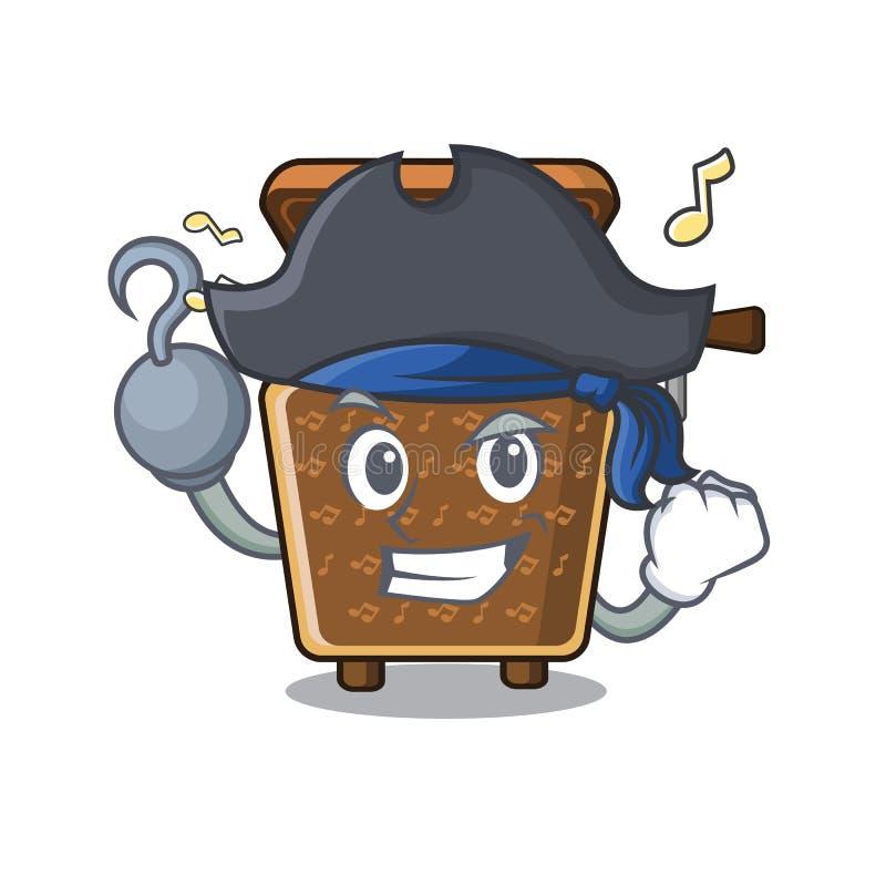 Piratkopiera musikasken i tecknad filmexponeringsglaskabinett stock illustrationer