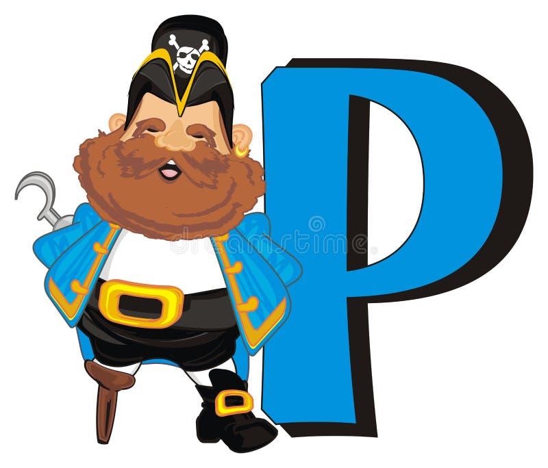 Piratkopiera och den stora bokstaven stock illustrationer