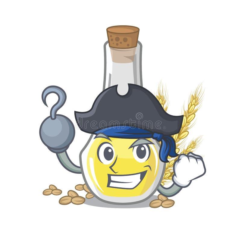 Piratkopiera olja för vetebakterien med det isolerade teckenet stock illustrationer