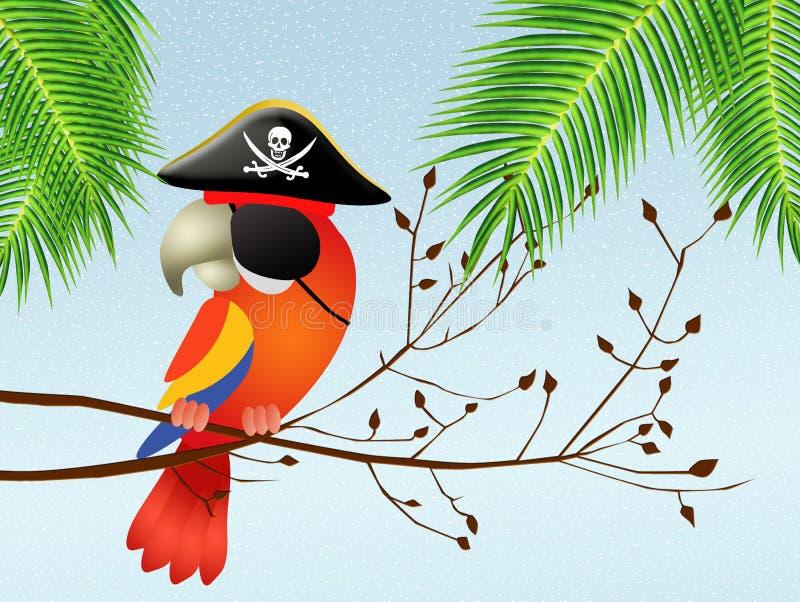 Piratkopiera papegojan vektor illustrationer