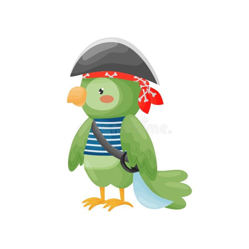 Piratkopiera papegojateckenet i en tecknad filmstil, i en bl stock illustrationer
