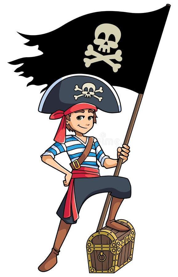 Piratkopiera pojkeinnehavflaggan stock illustrationer