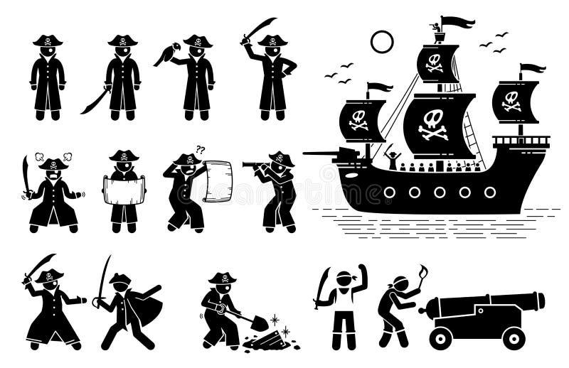 Piratkopiera poserar och skeppsymboler vektor illustrationer
