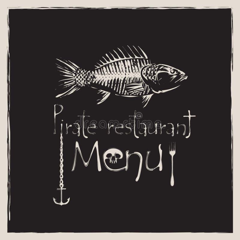 Piratkopiera restaurangen stock illustrationer