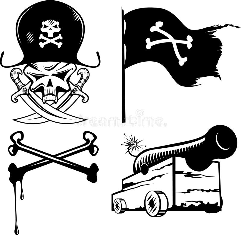 Piratkopiera seten stock illustrationer