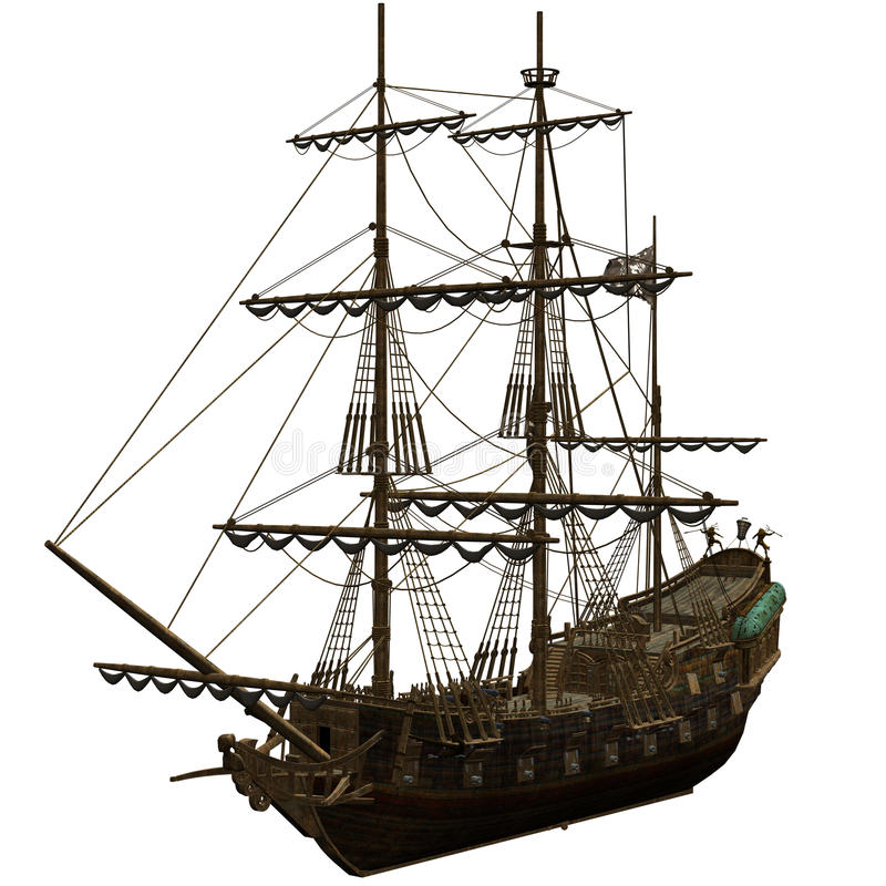 piratkopiera shipen royaltyfri illustrationer