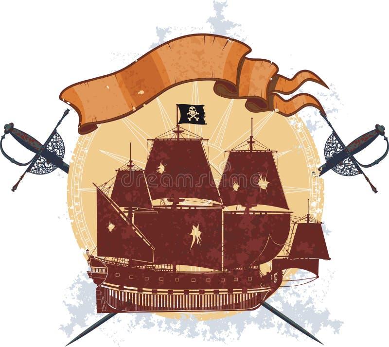 Piratkopiera shipen och ett emblem med sabers stock illustrationer