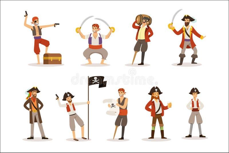 Piratkopiera sjömän med den klassiska Filibustererattributuppsättningen av att le manliga tecken med vapen och sablar stock illustrationer