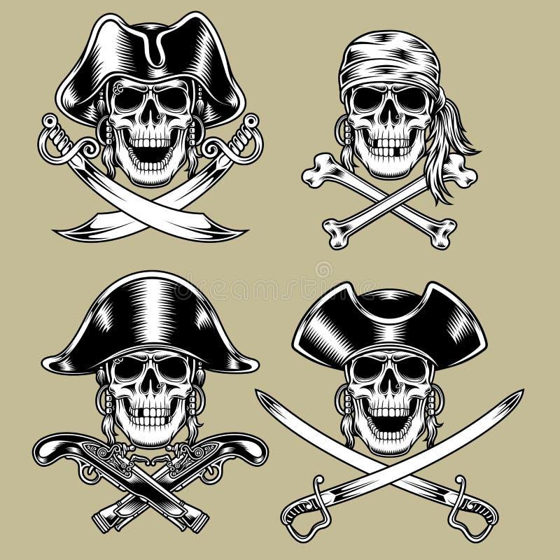 Piratkopiera skallar vektor illustrationer
