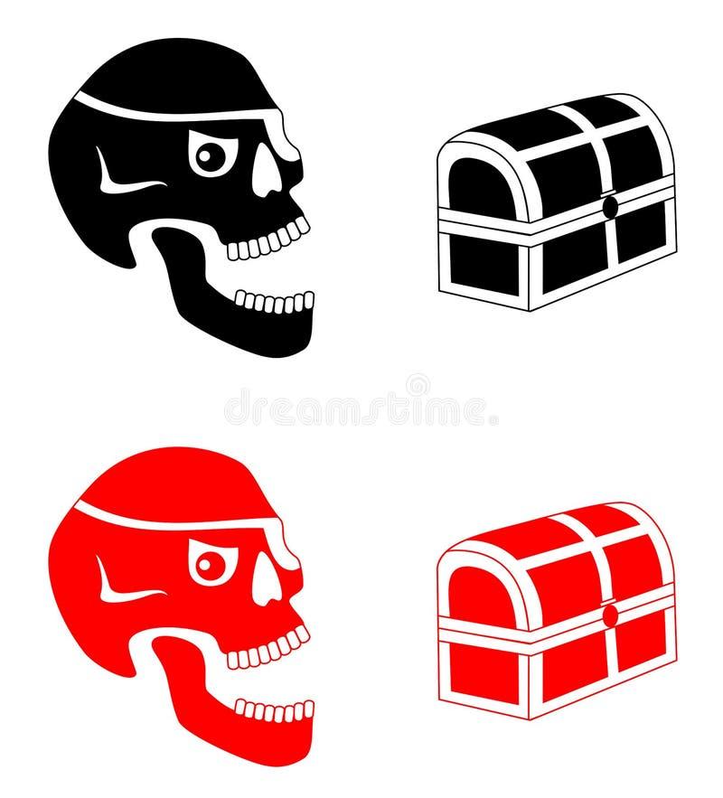 Piratkopiera skallar och bröstkorgen vektor illustrationer