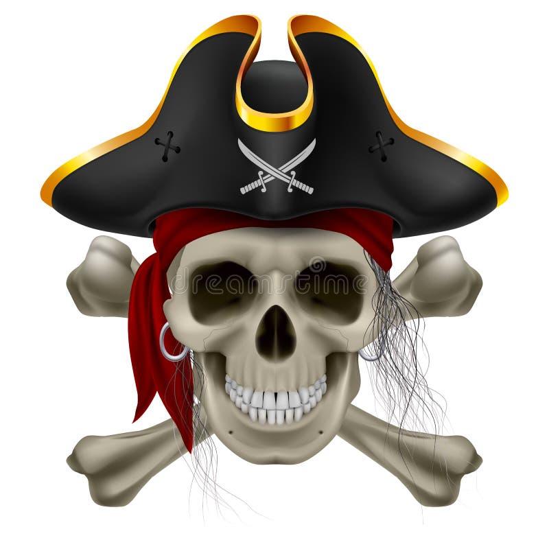 piratkopiera skallen royaltyfri illustrationer