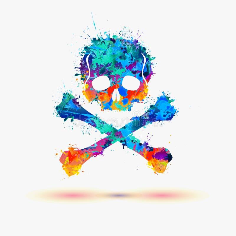 piratkopiera skallen Illustration för vektorvattenfärgfärgstänk stock illustrationer