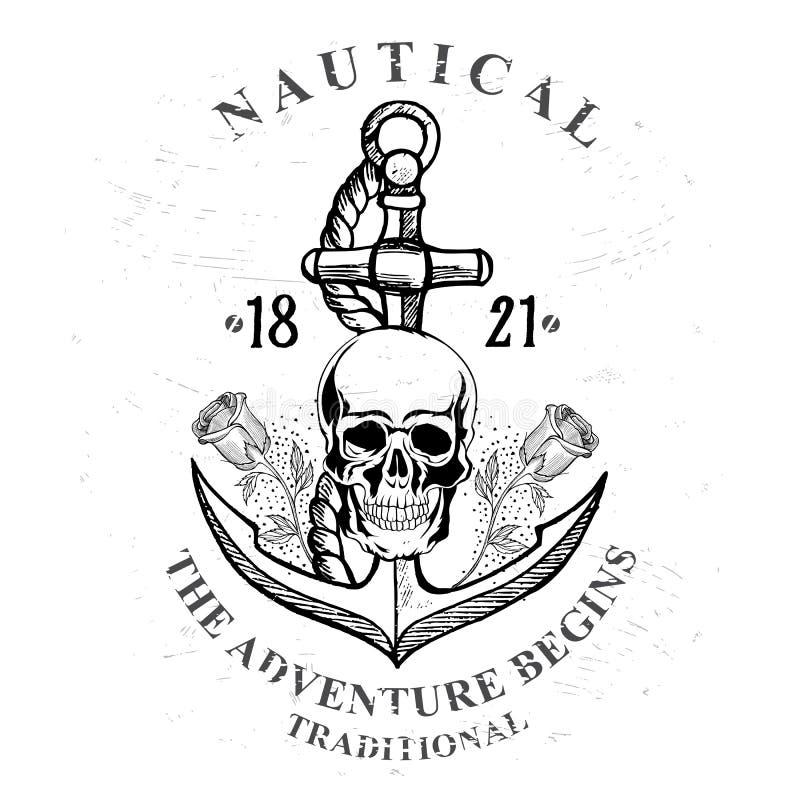 Piratkopiera skallen med ankardesign royaltyfri illustrationer