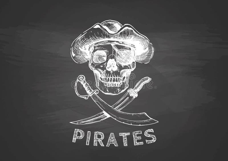 Piratkopiera skallen med arga svärd vektor illustrationer