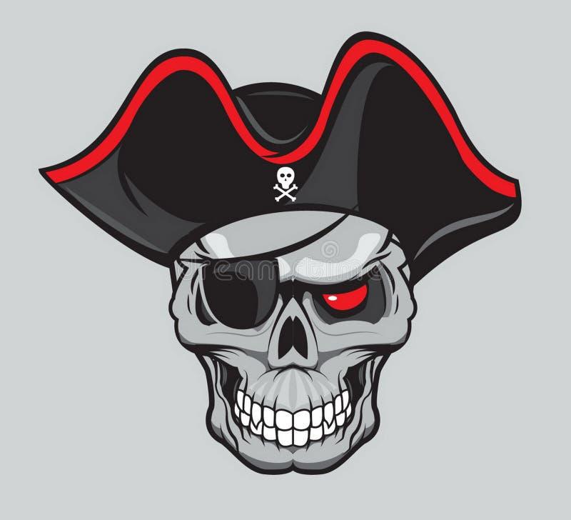 Piratkopiera skallen med hatten som isoleras för tatuering- eller t-skjorta design vektor illustrationer